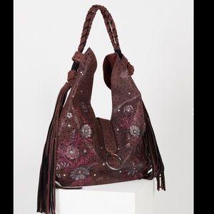 Free People Leather Suede Floral Tassel Handbag